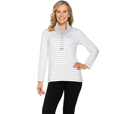 """As Is"" Susan Graver Weekend Striped Stretch Cotton Modal Pullover Top"