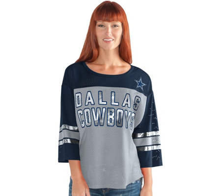 NFL Dallas Womens 3/4 Sleeve Mesh Top