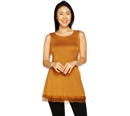 LOGO Layers by Lori Goldstein Knit Tank with Lace Hem