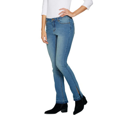 G.I.L.I. Released Hem Side Slit Regular Jeans