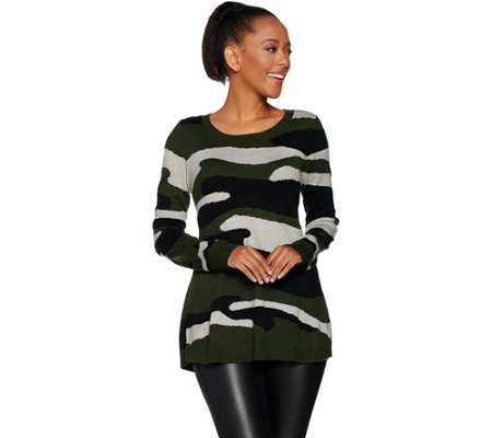 Attitudes by Renee Long Sleeve Pullover Camo Sweater
