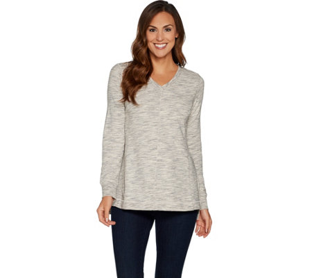 H by Halston Space Dye French Terry V-neck Pullover