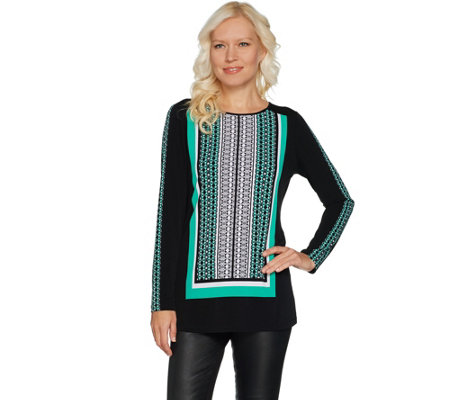 Susan Graver Printed Liquid Knit Long Sleeve Tunic