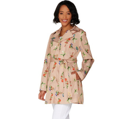 Susan Graver Water Resistant Printed Trench Coat
