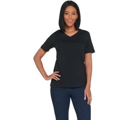 Joan Rivers Wardrobe Builders V-Neck Tee w/ Short Sleeves