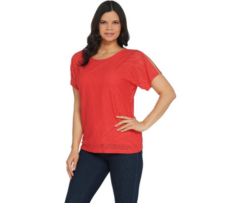 Susan Graver Stretch Lace Short Sleeve Top w/ Liquid Knit Tank