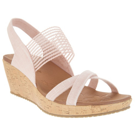 Skechers Sling Back Stretch Wedges - Beverlee High Tea