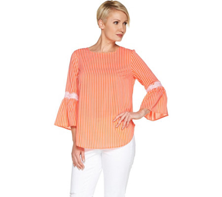 d17ee7e2d4 Du Jour Striped Bell Sleeve Top with Lace Detail - Page 1 — QVC.com