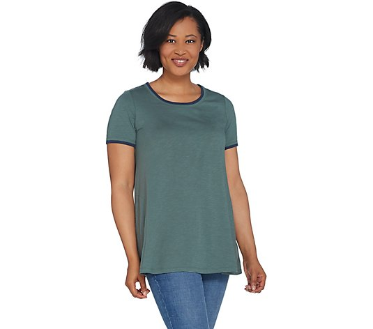 LOGO by Lori Goldstein Cotton Slub Knit Top w/ Contrast Detail