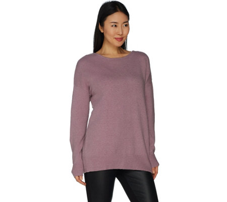 """As Is"" Du Jour Drop Shoulder Long Sleeve Cross Back Sweater Tunic"
