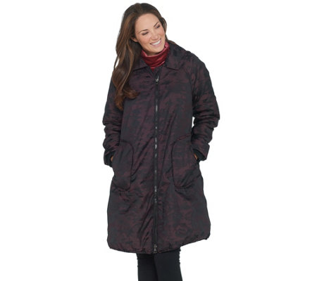 LOGO by Lori Goldstein Jacquard Coat with Fleece Lining