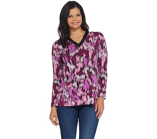 Belle by Kim Gravel Modern Camo Print Top w/ Cutout Detail