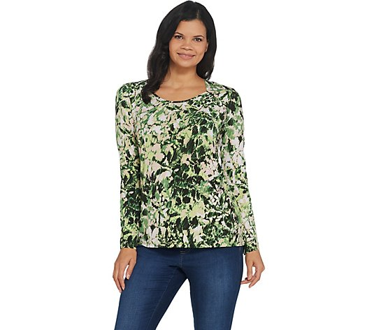 Belle by Kim Gravel Watercolor Floral Knit Top