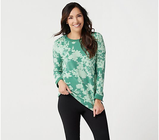 Denim & Co. Active Printed Long-Sleeve Top with Rib Trim