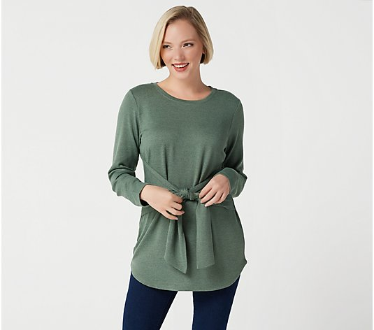 Studio by Denim & Co. Regular Brushed Heathered Tie Front Tunic