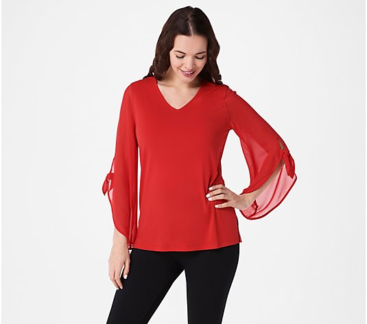 Susan Graver Liquid Knit Top with Chiffon Sleeves