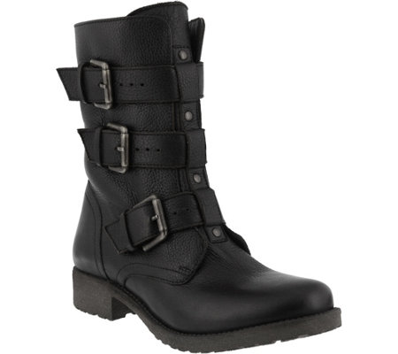 Azura by Spring Step Leather Moto Boots - Gabi