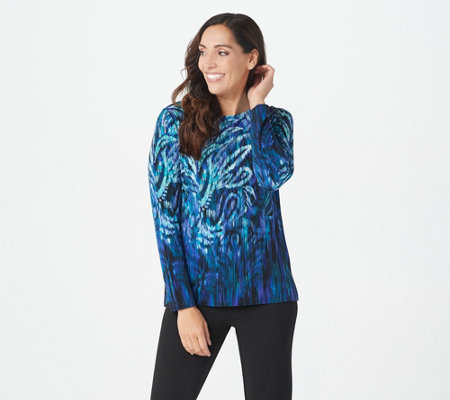 Bob Mackie Feather Paisley Print Knit Pullover Top