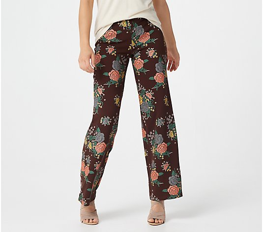 Attitudes by Renee Petite Novelty Straight Leg Pull-On Pants
