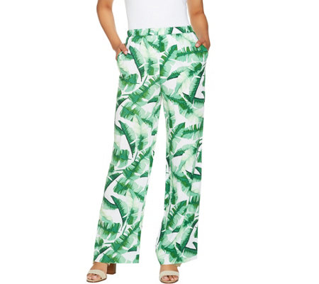As Is C Wonder Regular Tropical Palm Print Pull On Full Leg Pants