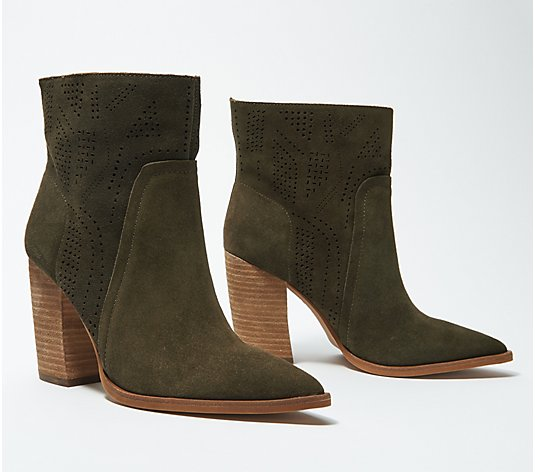 Vince Camuto Leather Perforated Ankle Boots - Catheryna