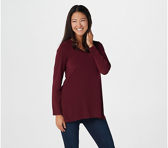 Susan Graver Modern Essentials Liquid Knit V-Neck Tunic