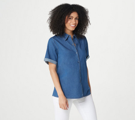 """As Is"" Denim & Co. Lightweight Stretch Denim A-Line Button-Up Shirt"
