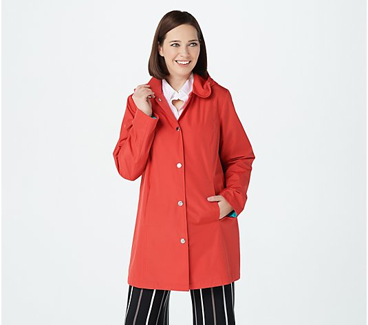 Susan Graver Water-Resistant Jacket with Pop Color Lining and Hood