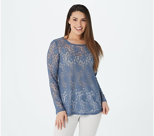 LOGO Layers by Lori Goldstein Long-Sleeve Sheer Lace Top