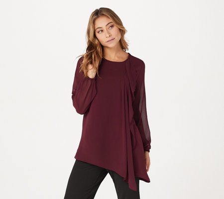 """As Is"" Susan Graver Liquid Knit Tunic with Chiffon Sleeves & Overlay"