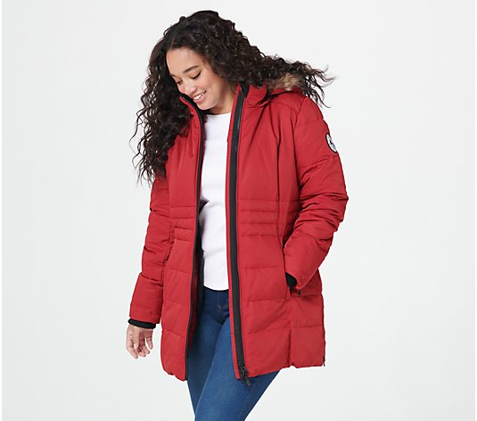 Arctic Expedition Quilted Zip Front Down Coat with Hood