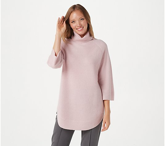 """As Is"" Soft by NAADAM 100% Cashmere Waffle Stitch Turtle- Neck Sweater"