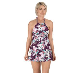 d1798c663cd6a Carole Hochman Keyhole High-Neck Swim Dress - A424242