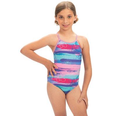 e9459c03db Dolfin Uglies Girls' Surf's Up Keyhole Back 1-Piece Swimsuit — QVC.com