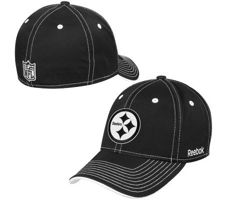 5a97447b223 NFL Pittsburgh Steelers Black   White Structured Flex Fit Hat — QVC ...