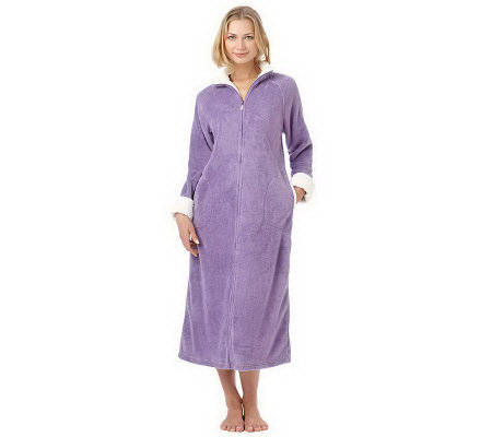 Stan Herman Plush Zip Front Robe with Textured Trim - Page 1 — QVC.com ca6bc6ff3