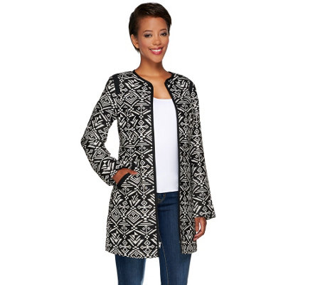 Dennis Basso Printed Zip Front Long Jacket w/ Pockets