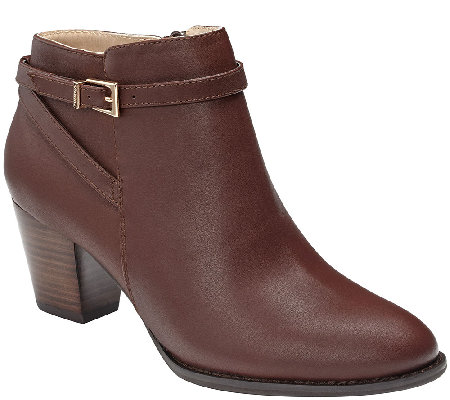 Vionic Leather Ankle Boots with Buckle - Upton