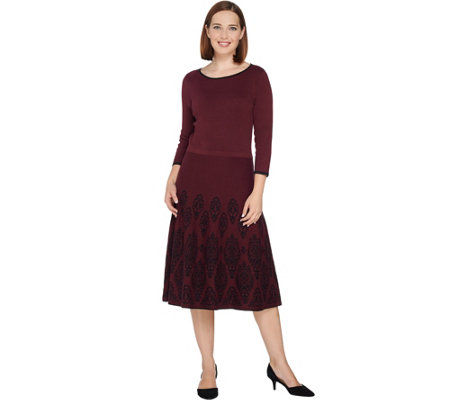 Dennis Basso Jacquard Sweater Dress