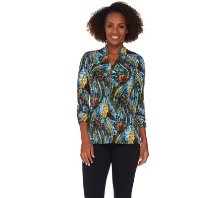 Susan Graver Printed Liquid Knit 3/4 Sleeve Top with Zipper