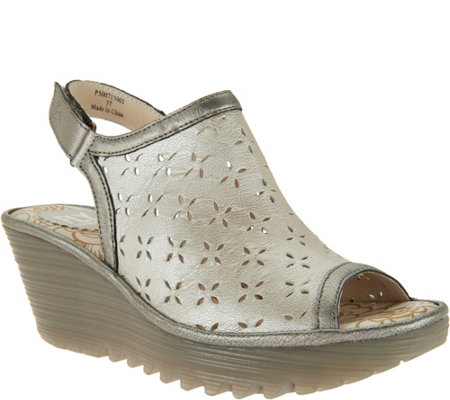 FLY London Leather Perforated Wedges - Ybel