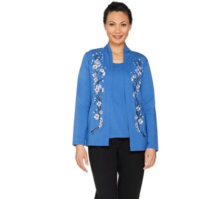 Bob Mackie's Blossom Embroidered Cardigan and Knit Tank Set