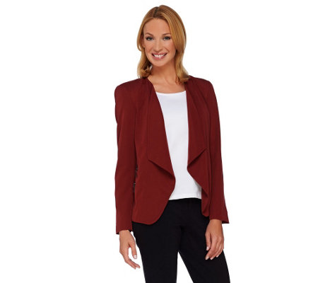 """As Is"" GK George Kotsiopoulos Drape Front Blazer w/Zipper"