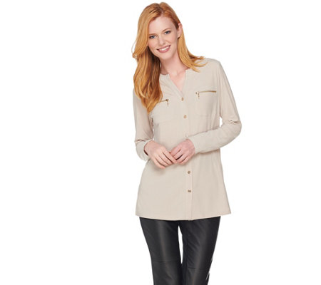 """As Is"" Susan Graver Textured Liquid Knit Shirt with Zipper Pockets"
