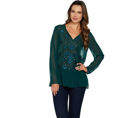 LOGO Lavish by Lori Goldstein Chiffon Top with Beading & Embroidery