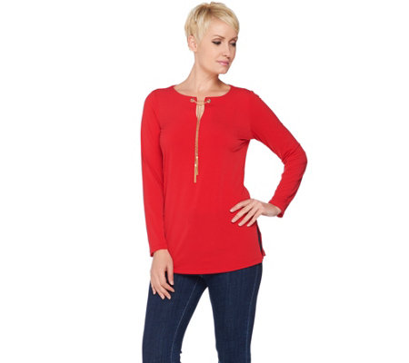 """As Is"" Susan Graver Liquid Knit Tunic with Removable Chain"