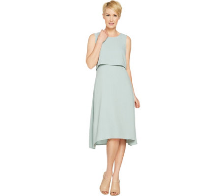 """As Is"" Linea by Louis Dell'Olio Gauze Crepe Asymm. Hem Dress"