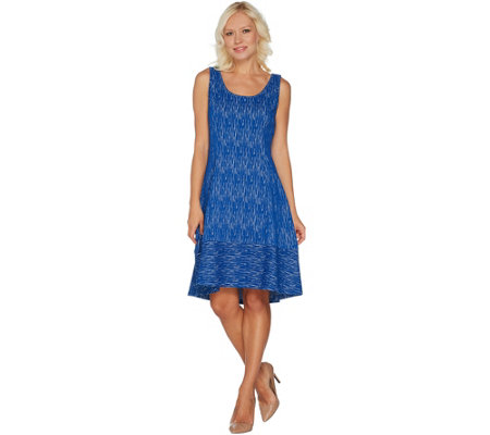 H by Halston Regular Knit Jacquard Dress with Hi-Low Hem