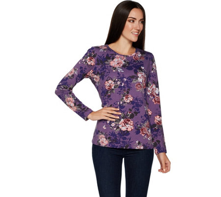 """As Is"" Denim & Co. Floral Print Long Sleeve Round Neck Top"