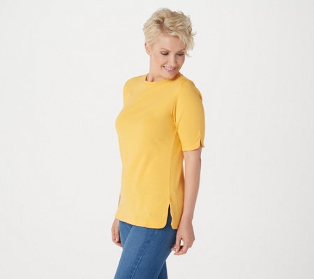 Isaac Mizrahi Live! Essentials Elbow Sleeve Crew Neck Top